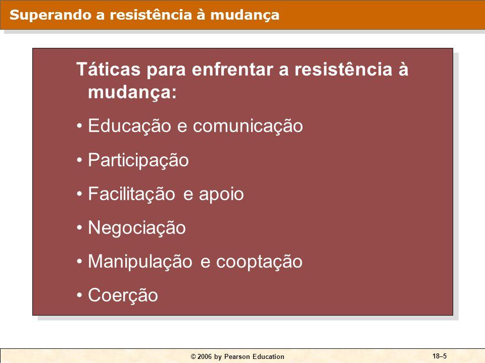 © 2006 by Pearson Education 18–5 Táticas para enfrentar a resistência à mudança: Educação e comunicação Participação Facilitação e apoio Negociação Ma
