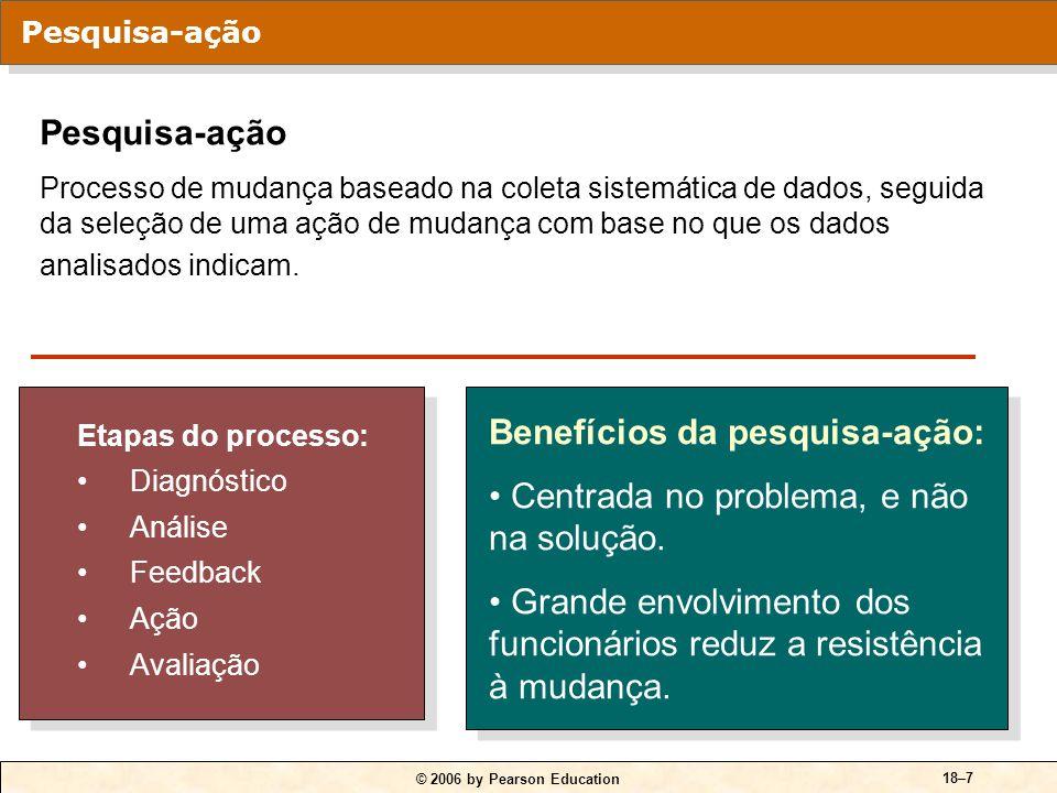 © 2006 by Pearson Education 18–7 Etapas do processo: Diagnóstico Análise Feedback Ação Avaliação Etapas do processo: Diagnóstico Análise Feedback Ação