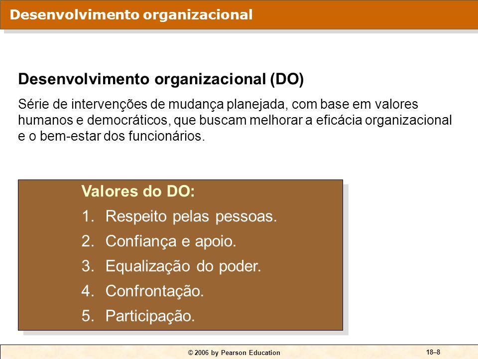 © 2006 by Pearson Education 18–9 Treinamento de sensibilidade Método de mudança de comportamento por meio de uma interação de grupo não estruturada.