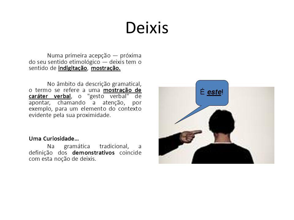 Deixis Este termo está relacionado com o gesto de apontar: um gesto, um fazer, que, pressupondo uma situação de comunicação face a face e uma intencio