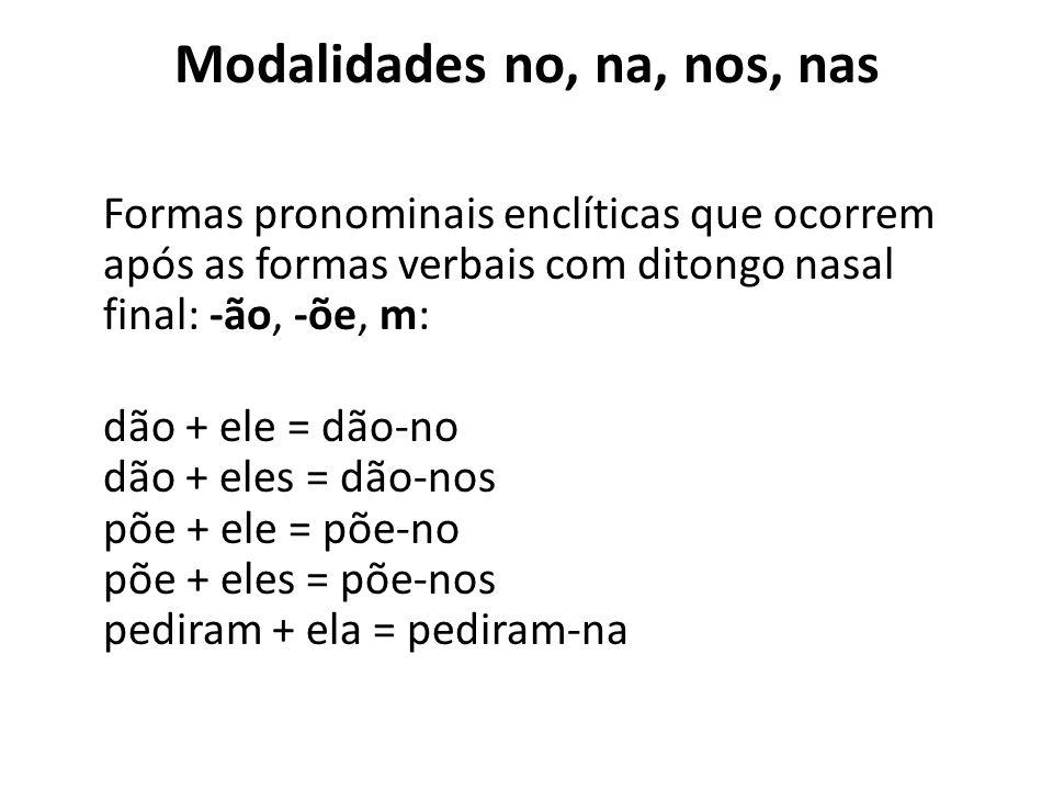 Modalidades lo, la, los, las Os pronomes o, a, os, as, quando associados às terminações verbais -r, -s, -z, passam para a forma: lo, la, los, las. bus