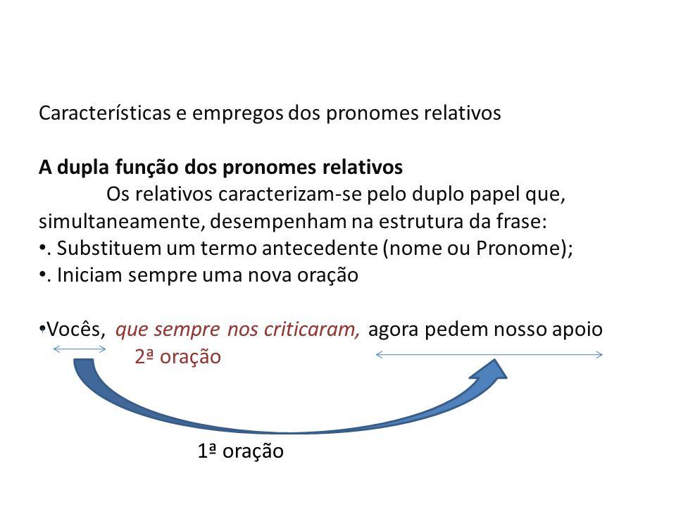 O quadro a seguir apresenta os pronomes relativos Variáveis o/a qual; os/as quais Cujo(s); cuja(s) Quanto(s); quanta(s) Invariáveis Que Quem Onde / ao