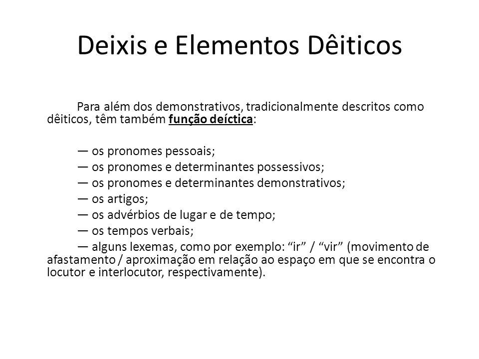 Deixis e Elementos Dêiticos Para além dos demonstrativos, tradicionalmente descritos como dêiticos, têm também função deíctica: os pronomes pessoais; os pronomes e determinantes possessivos; os pronomes e determinantes demonstrativos; os artigos; os advérbios de lugar e de tempo; os tempos verbais; alguns lexemas, como por exemplo: ir / vir (movimento de afastamento / aproximação em relação ao espaço em que se encontra o locutor e interlocutor, respectivamente).