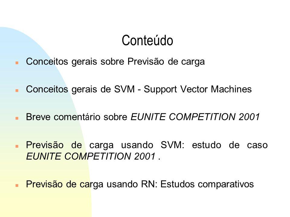 Conteúdo n Conceitos gerais sobre Previsão de carga n Conceitos gerais de SVM - Support Vector Machines Breve coment á rio sobre EUNITE COMPETITION 2001 n Previsão de carga usando SVM: estudo de caso EUNITE COMPETITION 2001.