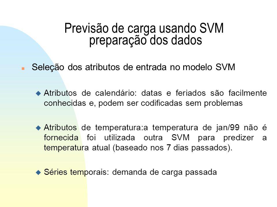 Previsão de carga usando SVM preparação dos dados n Seleção dos atributos de entrada no modelo SVM u Atributos de calendário: datas e feriados são facilmente conhecidas e, podem ser codificadas sem problemas u Atributos de temperatura:a temperatura de jan/99 não é fornecida foi utilizada outra SVM para predizer a temperatura atual (baseado nos 7 dias passados).