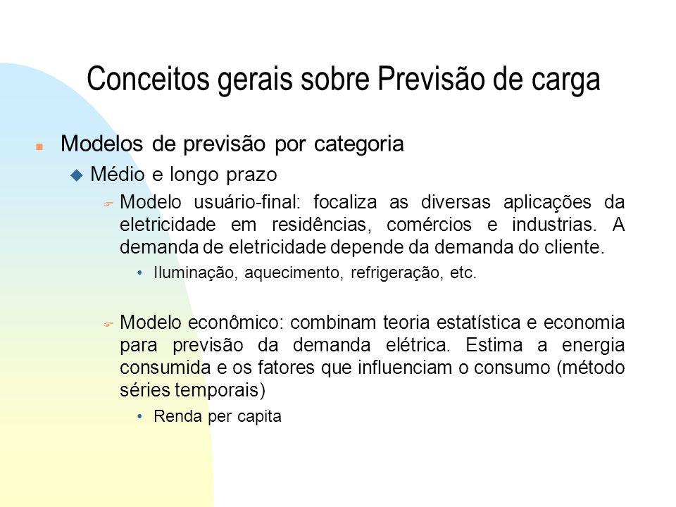 Conceitos gerais sobre Previsão de carga n Modelos de previsão por categoria u Médio e longo prazo F Modelo usuário-final: focaliza as diversas aplicações da eletricidade em residências, comércios e industrias.