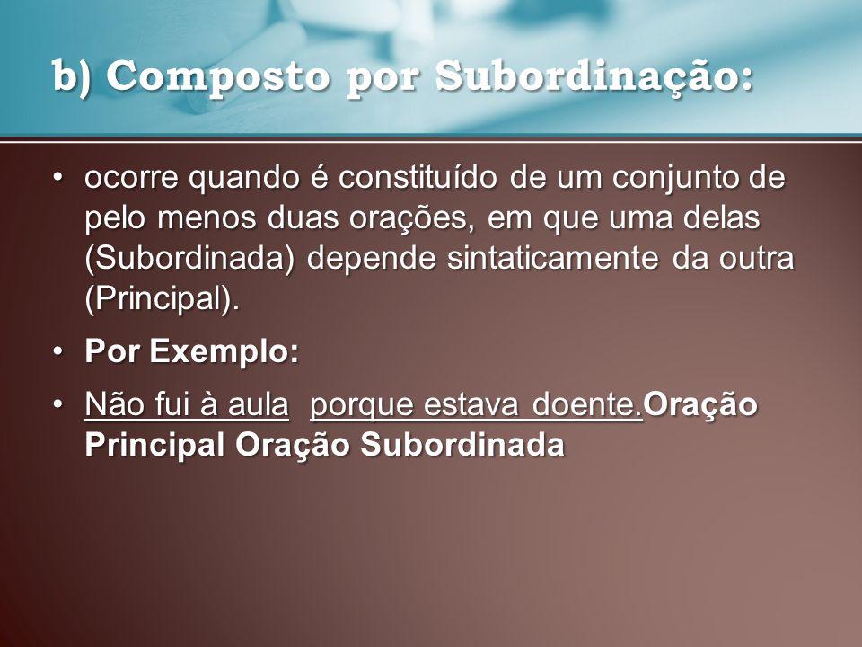 c) Misto: quando é constituído de orações coordenadas e subordinadas.c) Misto: quando é constituído de orações coordenadas e subordinadas.