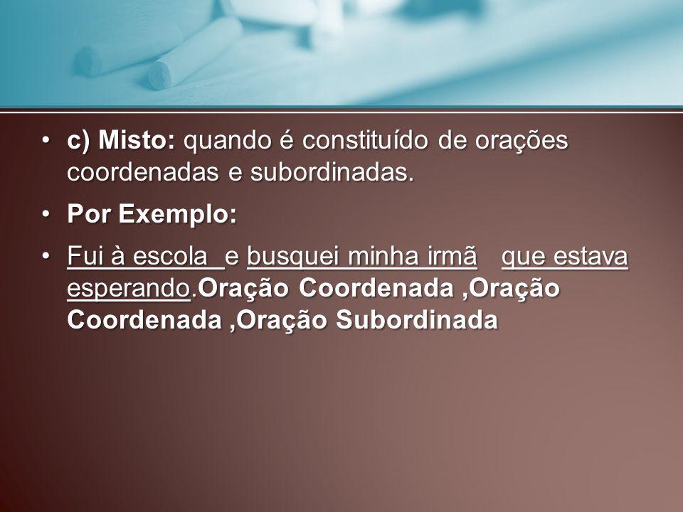 c) Misto: quando é constituído de orações coordenadas e subordinadas.c) Misto: quando é constituído de orações coordenadas e subordinadas. Por Exemplo