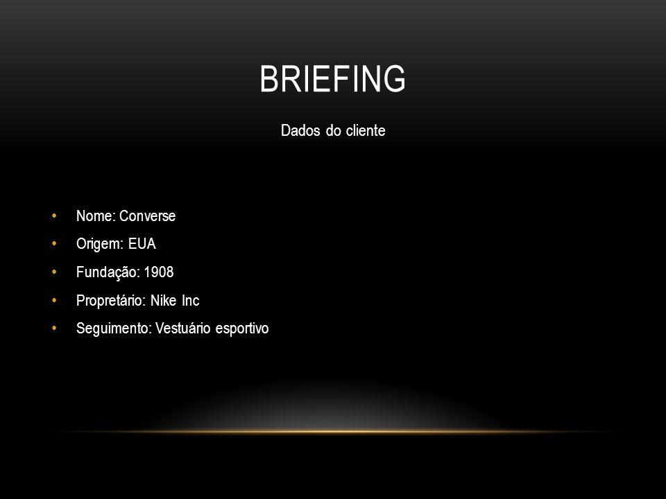 BRIEFING Dados do cliente Nome: Converse Origem: EUA Fundação: 1908 Propretário: Nike Inc Seguimento: Vestuário esportivo