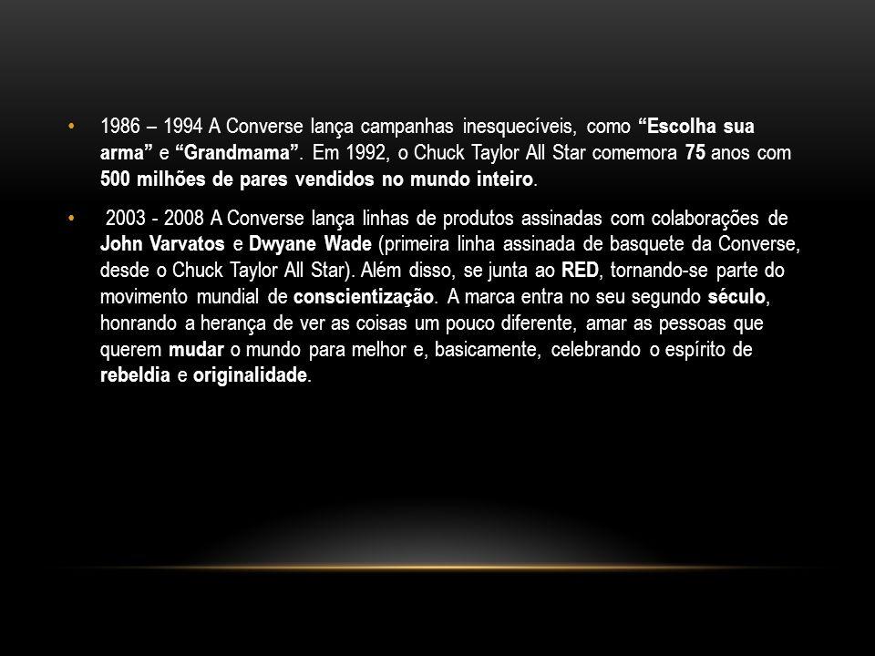 1986 – 1994 A Converse lança campanhas inesquecíveis, como Escolha sua arma e Grandmama. Em 1992, o Chuck Taylor All Star comemora 75 anos com 500 mil