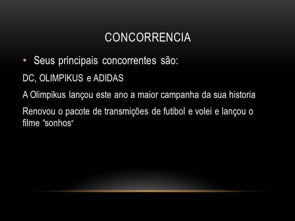 CONCORRENCIA Seus principais concorrentes são: DC, OLIMPIKUS e ADIDAS A Olimpikus lançou este ano a maior campanha da sua historia Renovou o pacote de