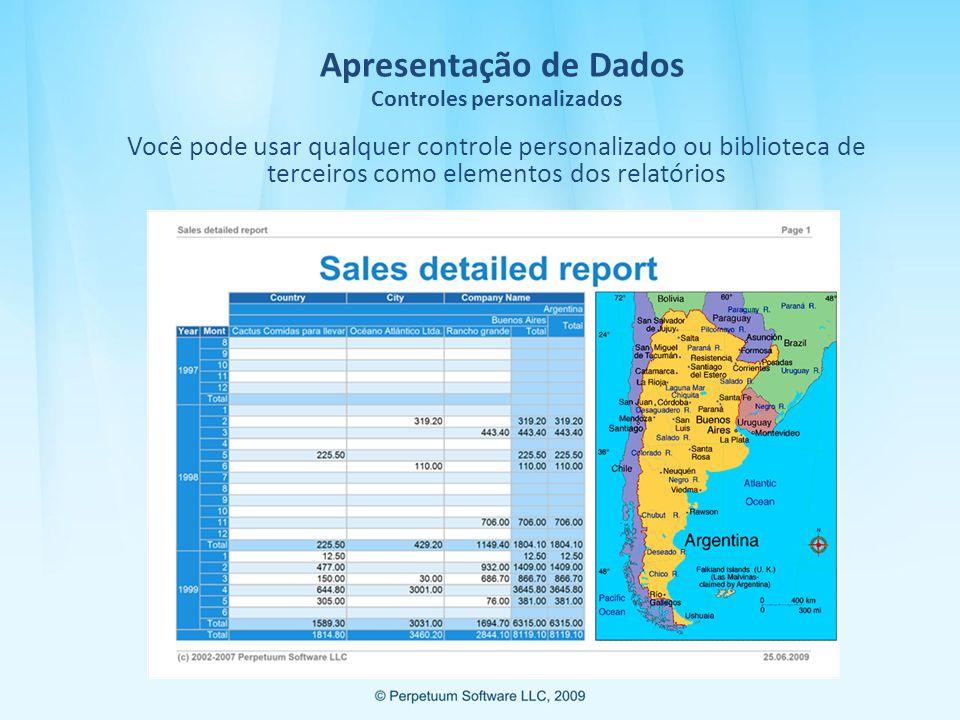 Apresentação de Dados Controles personalizados Você pode usar qualquer controle personalizado ou biblioteca de terceiros como elementos dos relatórios