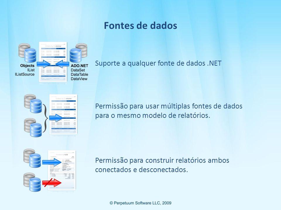 Fontes de dados Suporte a qualquer fonte de dados.NET Permissão para usar múltiplas fontes de dados para o mesmo modelo de relatórios.