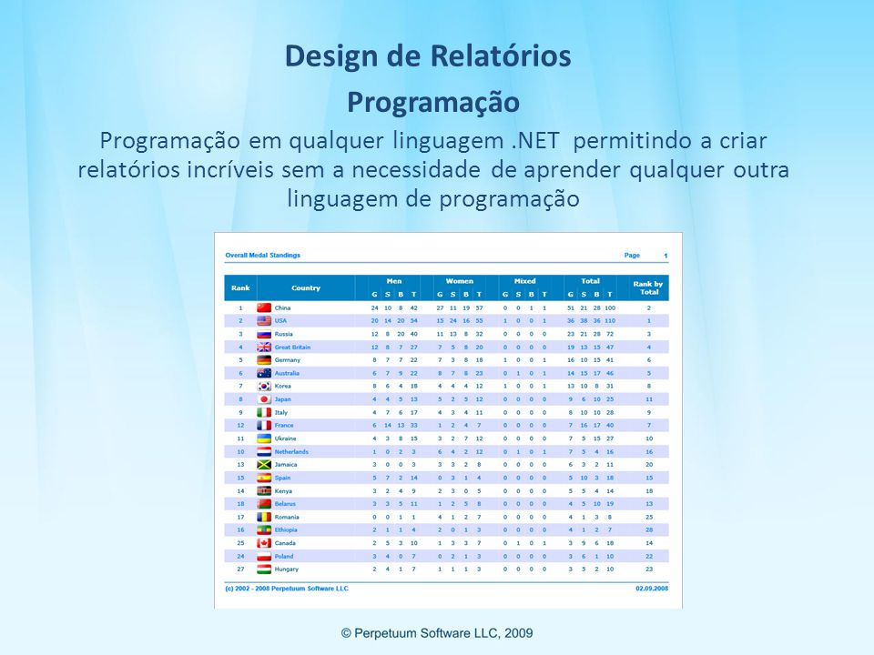Design de Relatórios Programação Programação em qualquer linguagem.NET permitindo a criar relatórios incríveis sem a necessidade de aprender qualquer outra linguagem de programação
