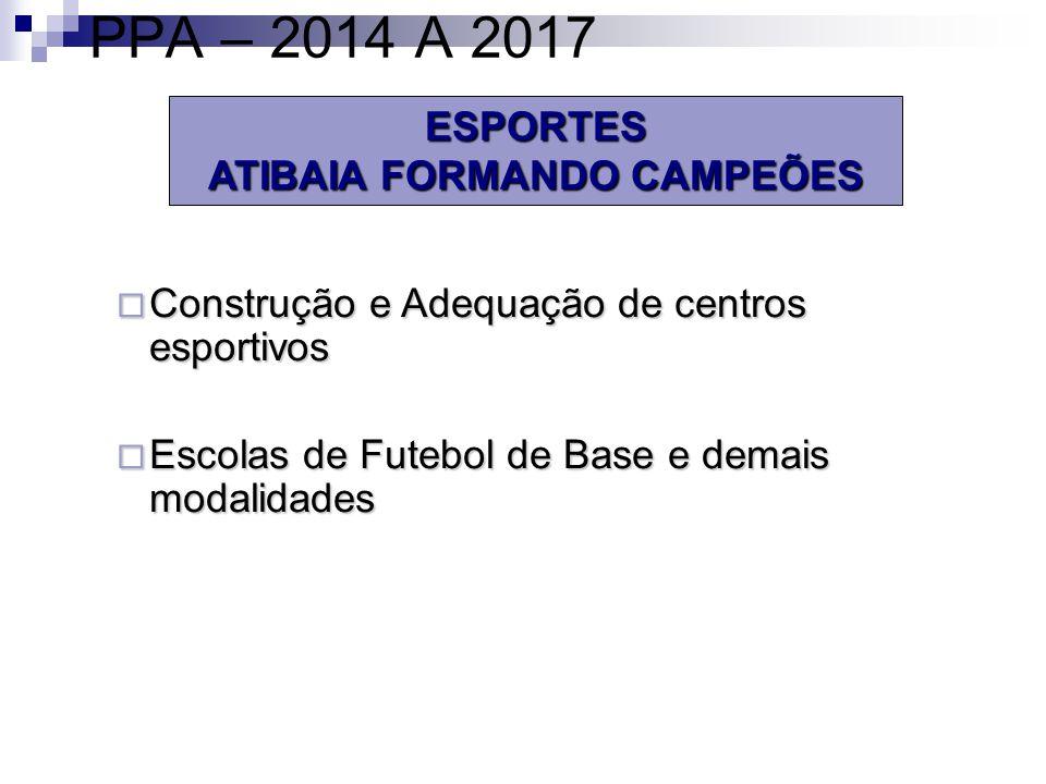 ESPORTES ATIBAIA FORMANDO CAMPEÕES PPA – 2014 A 2017 Construção e Adequação de centros esportivos Construção e Adequação de centros esportivos Escolas de Futebol de Base e demais modalidades Escolas de Futebol de Base e demais modalidades