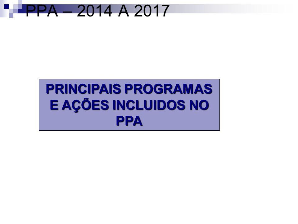 PRINCIPAIS PROGRAMAS E AÇÕES INCLUIDOS NO PPA PPA – 2014 A 2017