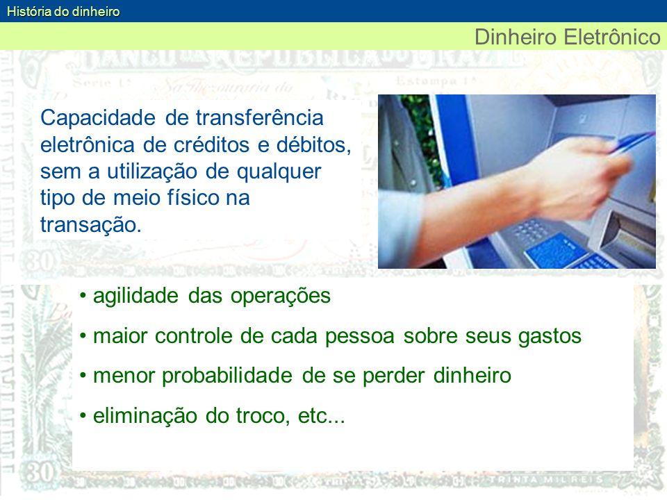 Dinheiro Eletrônico História do dinheiro Capacidade de transferência eletrônica de créditos e débitos, sem a utilização de qualquer tipo de meio físic