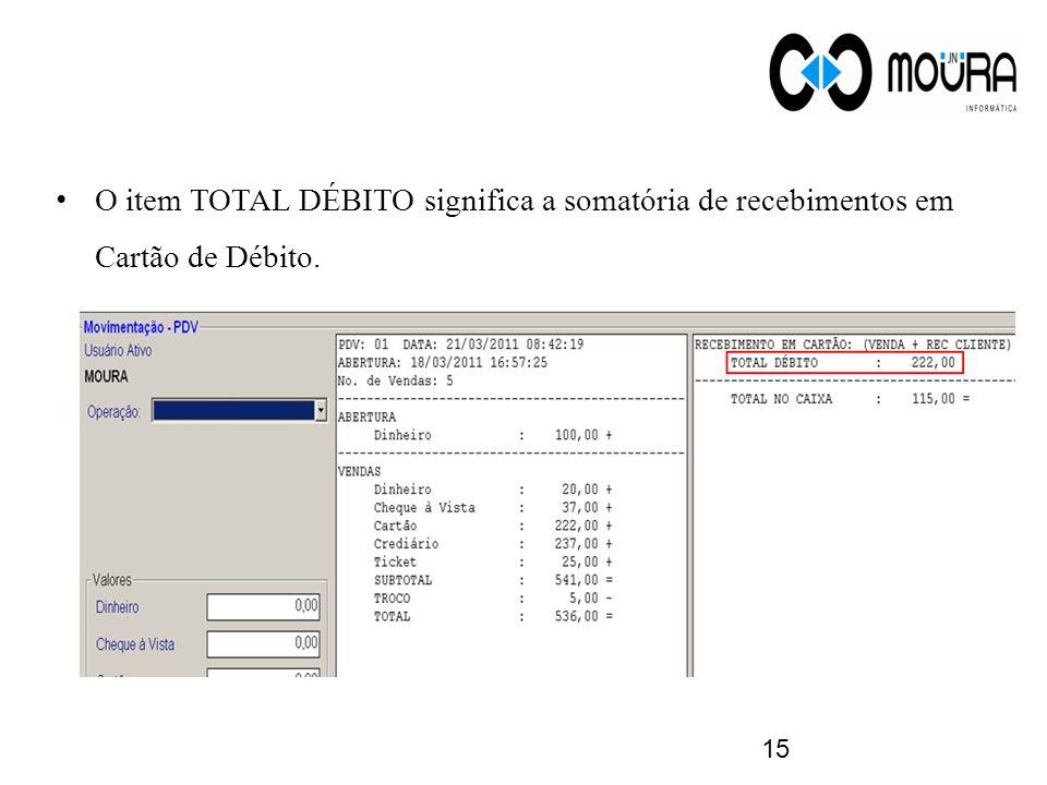 O item TOTAL DÉBITO significa a somatória de recebimentos em Cartão de Débito. 15