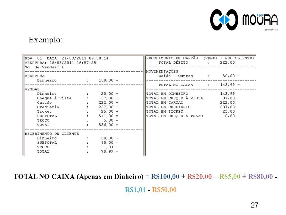 Exemplo: TOTAL NO CAIXA (Apenas em Dinheiro) = R$100,00 + R$20,00 – R$5,00 + R$80,00 - R$1,01 - R$50,00 27