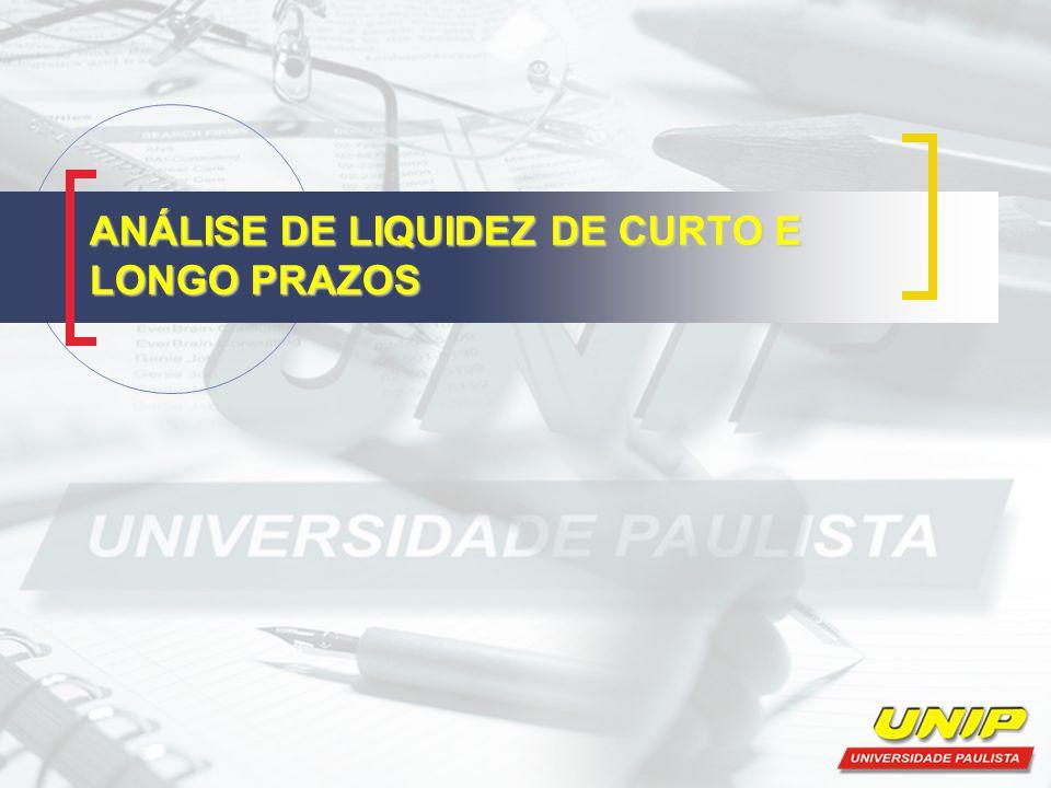 Índices de Liquidez Segundo Santos (2004,23) a interpretação desses índices pode ser feita comparando-os com os de outras empresas, ou analisando sua evolução ao longo do tempo na própria empresa.
