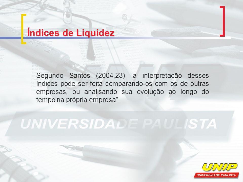 Índices de Liquidez Segundo Santos (2004,23) a interpretação desses índices pode ser feita comparando-os com os de outras empresas, ou analisando sua