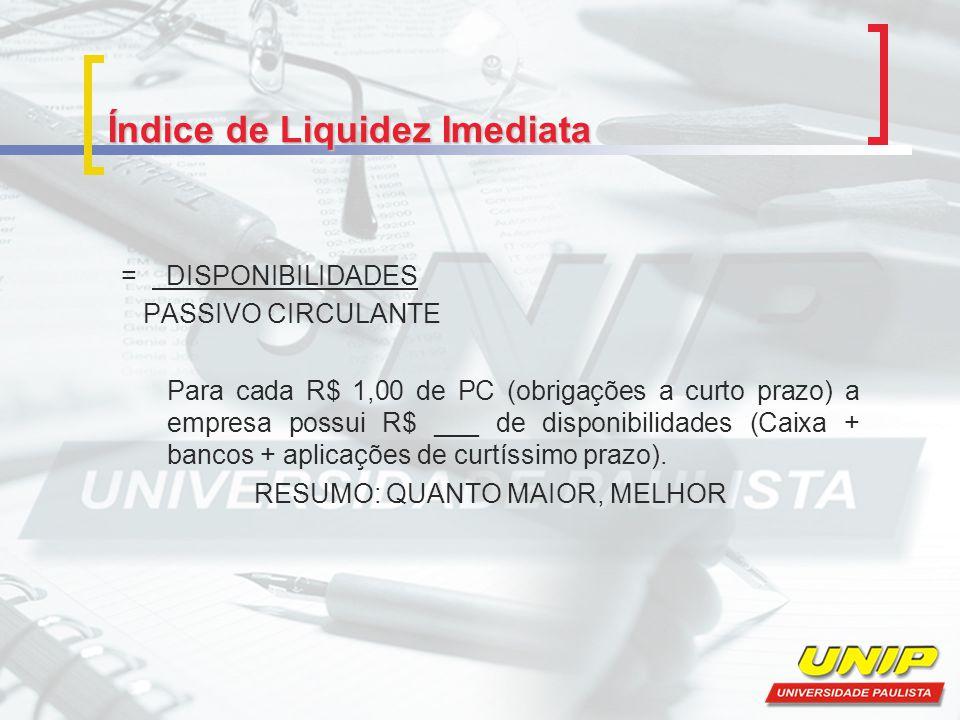 Índice de Liquidez Imediata = DISPONIBILIDADES PASSIVO CIRCULANTE Para cada R$ 1,00 de PC (obrigações a curto prazo) a empresa possui R$ ___ de dispon
