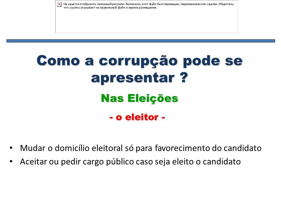 Como a corrupção pode se apresentar ? Mudar o domicílio eleitoral só para favorecimento do candidato Aceitar ou pedir cargo público caso seja eleito o