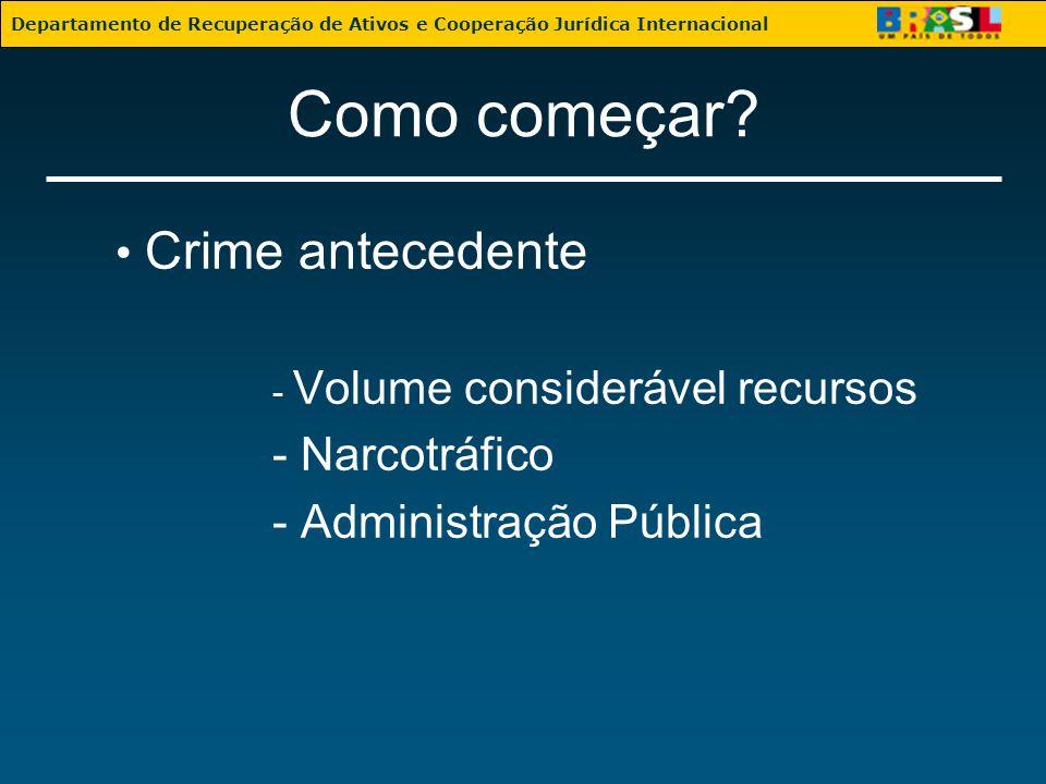 Como começar? Crime antecedente - Volume considerável recursos - Narcotráfico - Administração Pública Departamento de Recuperação de Ativos e Cooperaç