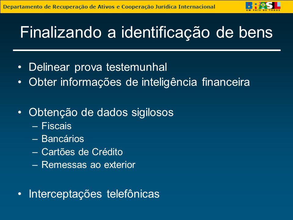 Finalizando a identificação de bens Delinear prova testemunhal Obter informações de inteligência financeira Obtenção de dados sigilosos –Fiscais –Banc