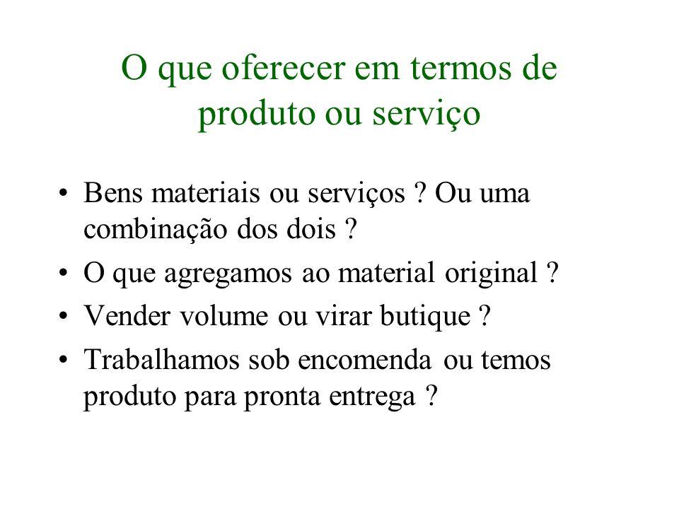 O que oferecer em termos de produto ou serviço Bens materiais ou serviços ? Ou uma combinação dos dois ? O que agregamos ao material original ? Vender