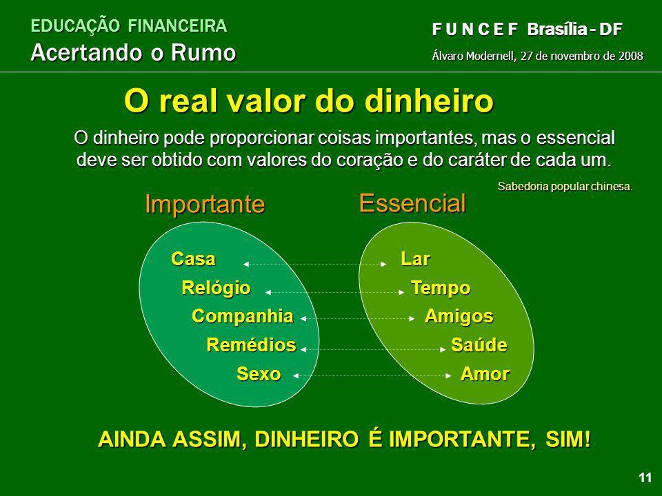 EDUCAÇÃO FINANCEIRA Acertando o Rumo Álvaro Modernell, 27 de novembro de 2008 F U N C E F Brasília - DF Pensar apenas no futuro, esquecer o presente e