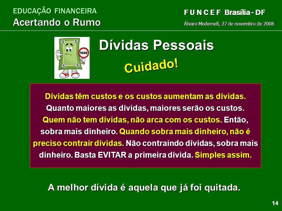 EDUCAÇÃO FINANCEIRA Acertando o Rumo Álvaro Modernell, 27 de novembro de 2008 F U N C E F Brasília - DF AtitudesAuto-confiançaDeterminaçãoDisciplinaOr