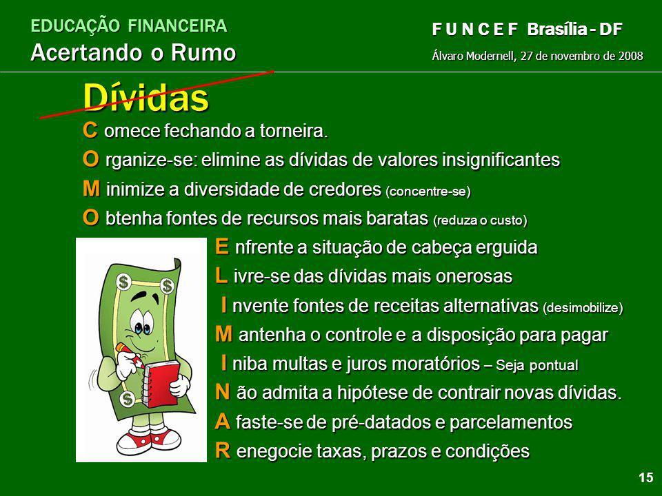 EDUCAÇÃO FINANCEIRA Acertando o Rumo Álvaro Modernell, 27 de novembro de 2008 F U N C E F Brasília - DF Dívidas têm custos e os custos aumentam as dív