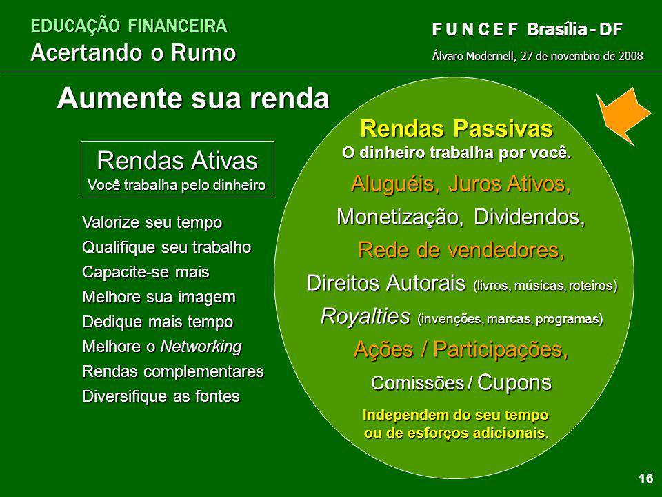 EDUCAÇÃO FINANCEIRA Acertando o Rumo Álvaro Modernell, 27 de novembro de 2008 F U N C E F Brasília - DF C omece fechando a torneira. O rganize-se: eli