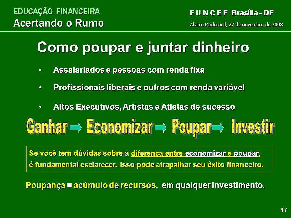 EDUCAÇÃO FINANCEIRA Acertando o Rumo Álvaro Modernell, 27 de novembro de 2008 F U N C E F Brasília - DF Aumente sua renda Rendas Ativas Você trabalha