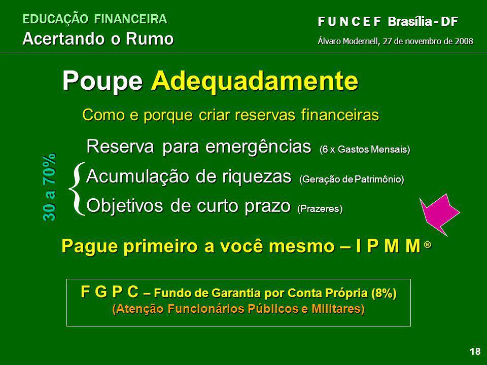 EDUCAÇÃO FINANCEIRA Acertando o Rumo Álvaro Modernell, 27 de novembro de 2008 F U N C E F Brasília - DF Assalariados e pessoas com renda fixaAssalaria