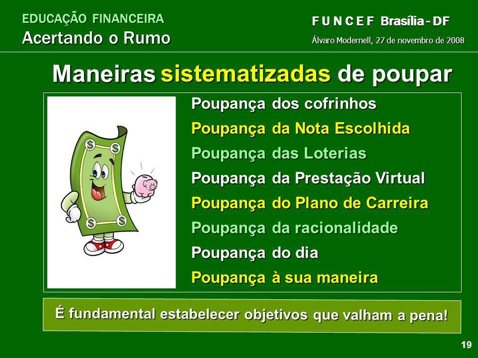 EDUCAÇÃO FINANCEIRA Acertando o Rumo Álvaro Modernell, 27 de novembro de 2008 F U N C E F Brasília - DF Poupe Adequadamente Reserva para emergências (