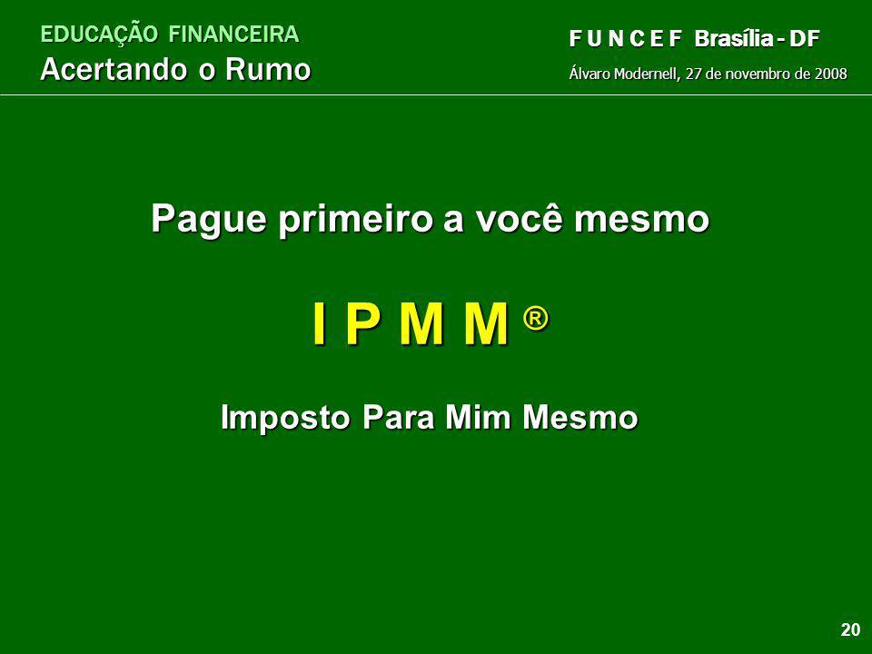 EDUCAÇÃO FINANCEIRA Acertando o Rumo Álvaro Modernell, 27 de novembro de 2008 F U N C E F Brasília - DF Poupança dos cofrinhos Poupança da Nota Escolh