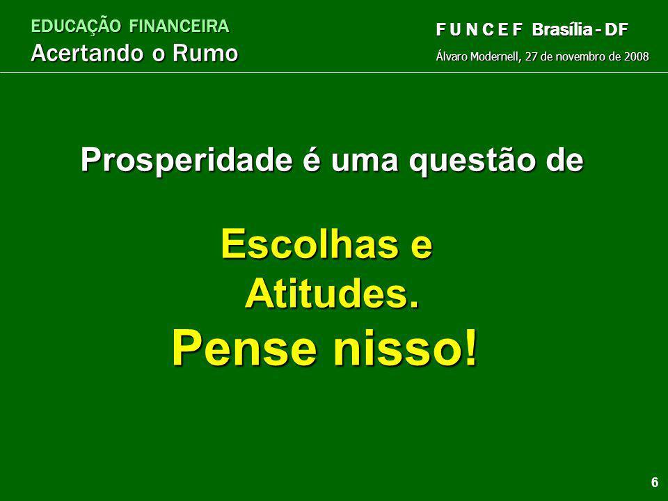 EDUCAÇÃO FINANCEIRA Acertando o Rumo Álvaro Modernell, 27 de novembro de 2008 F U N C E F Brasília - DF 5