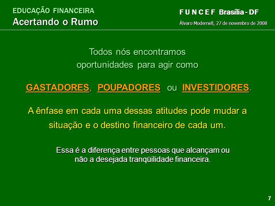 EDUCAÇÃO FINANCEIRA Acertando o Rumo Álvaro Modernell, 27 de novembro de 2008 F U N C E F Brasília - DF Prosperidade é uma questão de Escolhas e Atitu