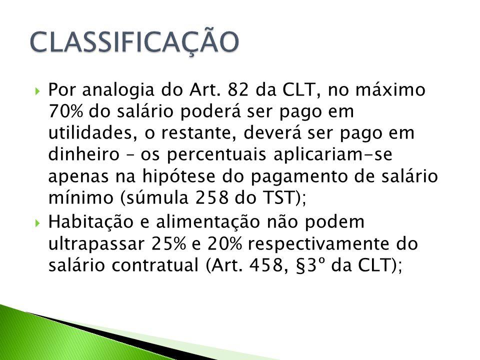 Por analogia do Art. 82 da CLT, no máximo 70% do salário poderá ser pago em utilidades, o restante, deverá ser pago em dinheiro – os percentuais aplic