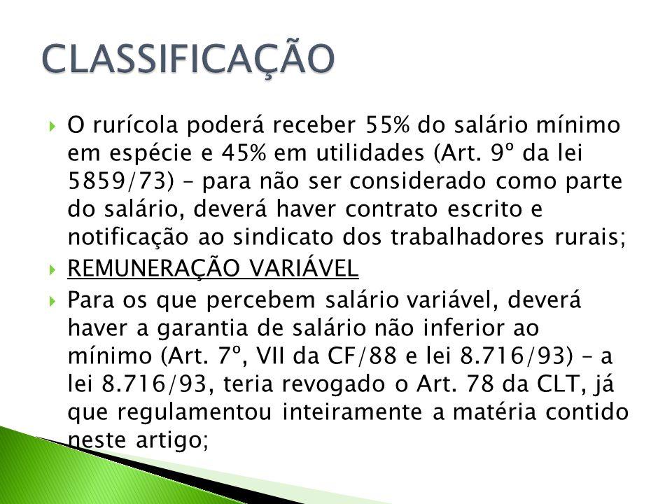 O rurícola poderá receber 55% do salário mínimo em espécie e 45% em utilidades (Art.