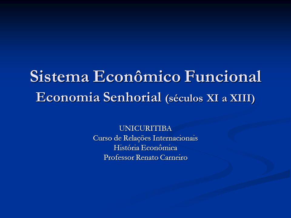 Sistema Econômico Funcional Economia Senhorial (séculos XI a XIII) UNICURITIBA Curso de Relações Internacionais História Econômica Professor Renato Carneiro