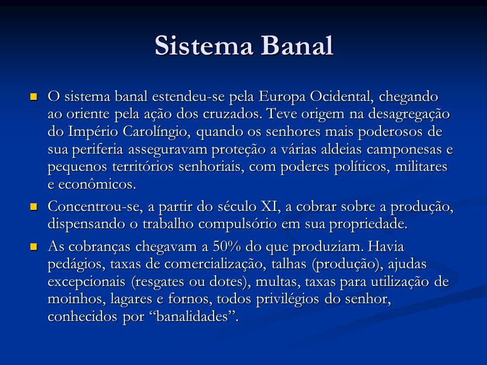 Sistema Banal O sistema banal estendeu-se pela Europa Ocidental, chegando ao oriente pela ação dos cruzados.