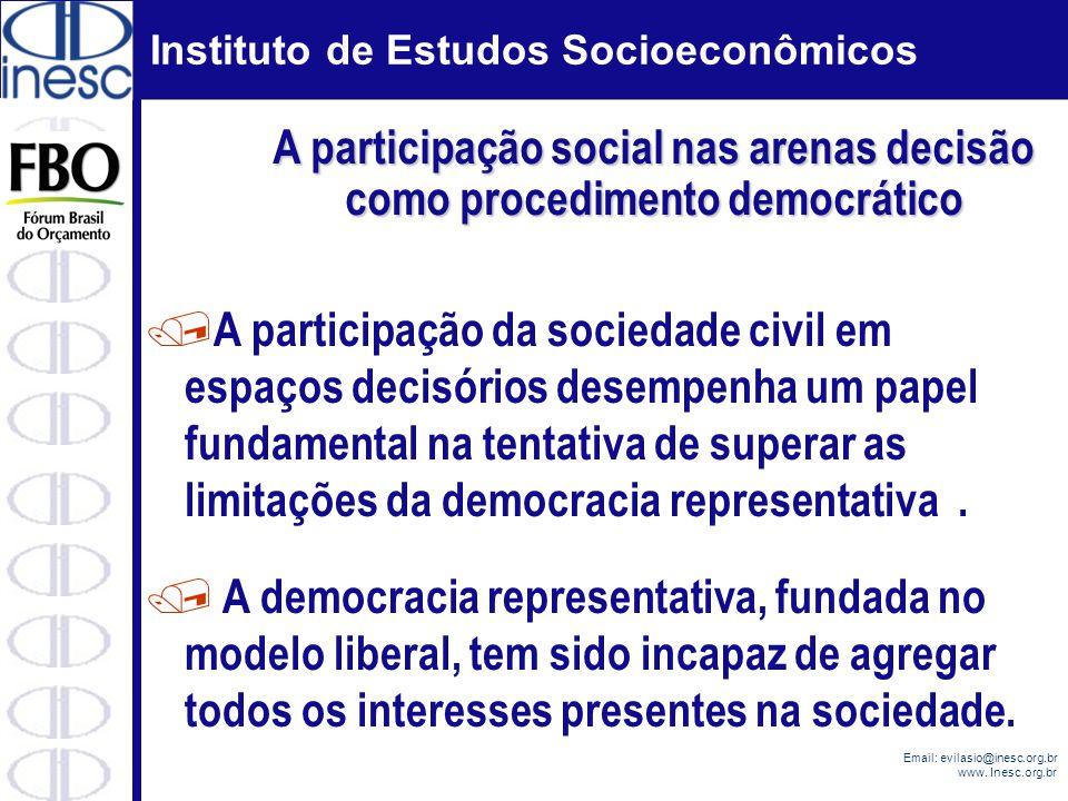 Instituto de Estudos Socioeconômicos Email: evilasio@inesc.org.br www. Inesc.org.br / A democracia representativa, fundada no modelo liberal, tem sido