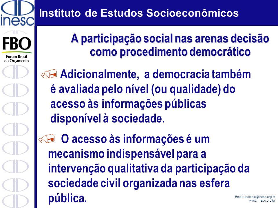Instituto de Estudos Socioeconômicos Email: evilasio@inesc.org.br www. Inesc.org.br / Adicionalmente, a democracia também é avaliada pelo nível (ou qu