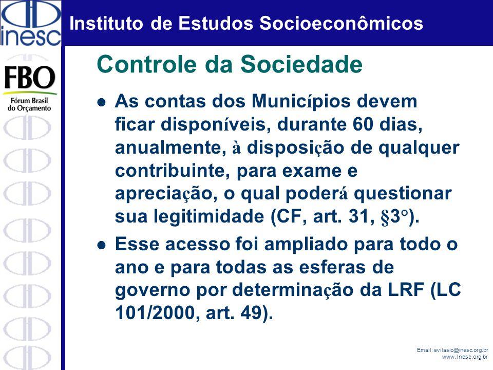 Instituto de Estudos Socioeconômicos Email: evilasio@inesc.org.br www. Inesc.org.br Controle da Sociedade As contas dos Munic í pios devem ficar dispo