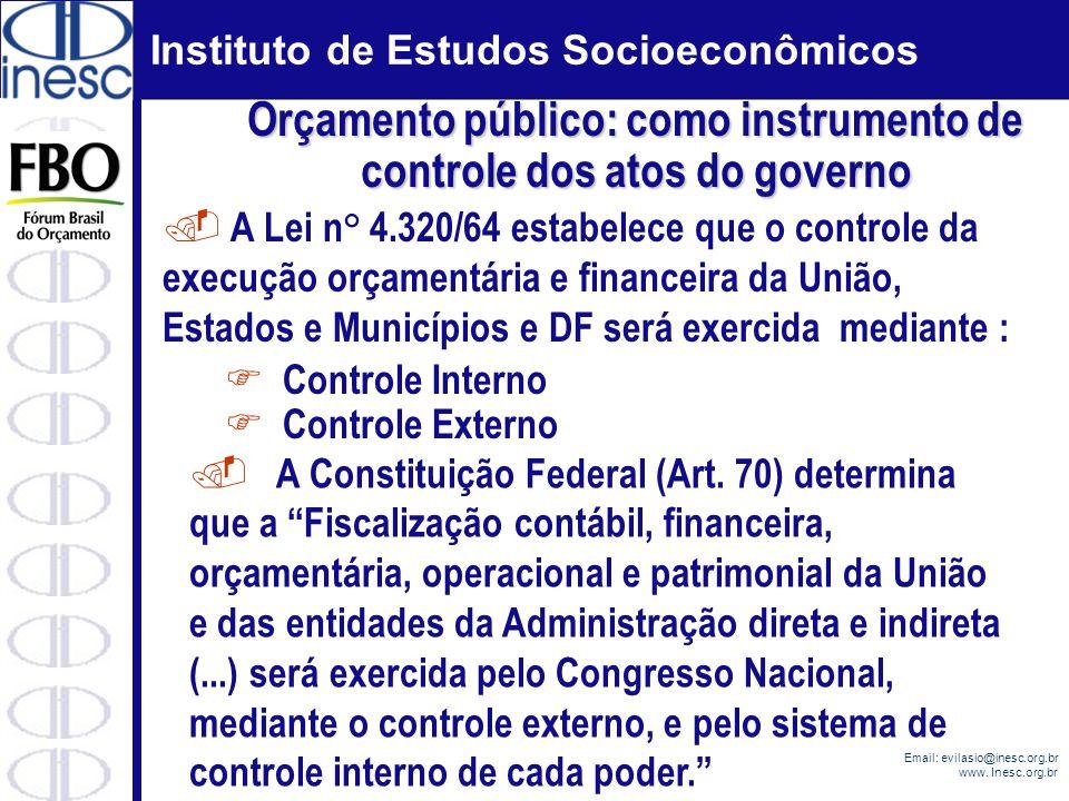 Instituto de Estudos Socioeconômicos Email: evilasio@inesc.org.br www. Inesc.org.br. A Lei n° 4.320/64 estabelece que o controle da execução orçamentá