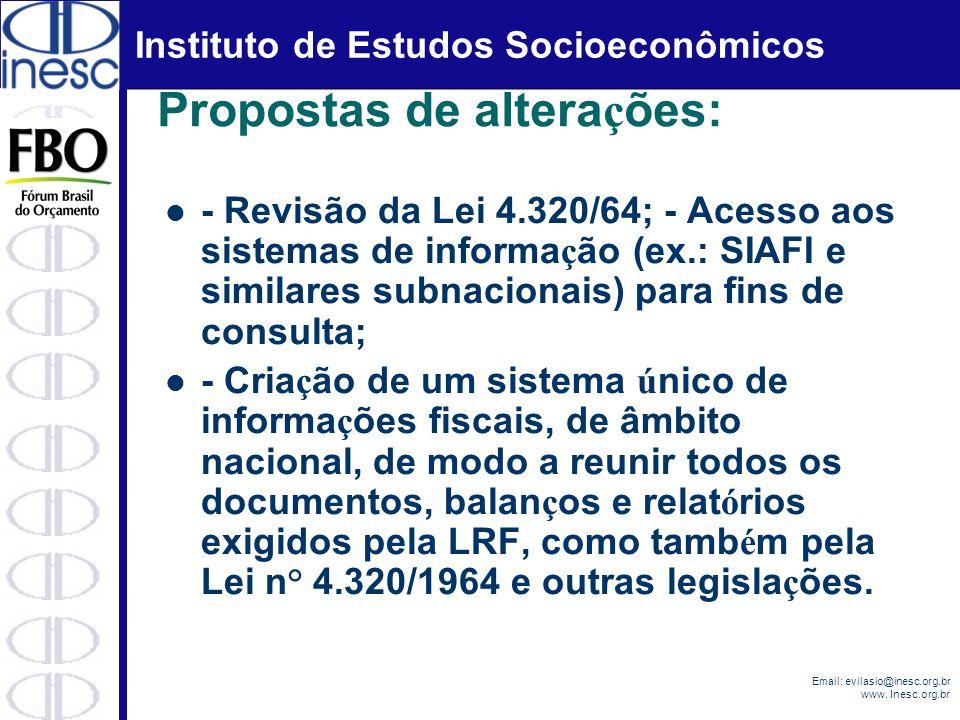 Instituto de Estudos Socioeconômicos Email: evilasio@inesc.org.br www. Inesc.org.br Propostas de altera ç ões: - Revisão da Lei 4.320/64; - Acesso aos