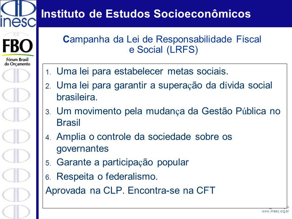 Instituto de Estudos Socioeconômicos Email: evilasio@inesc.org.br www. Inesc.org.br 1. Uma lei para estabelecer metas sociais. 2. Uma lei para garanti